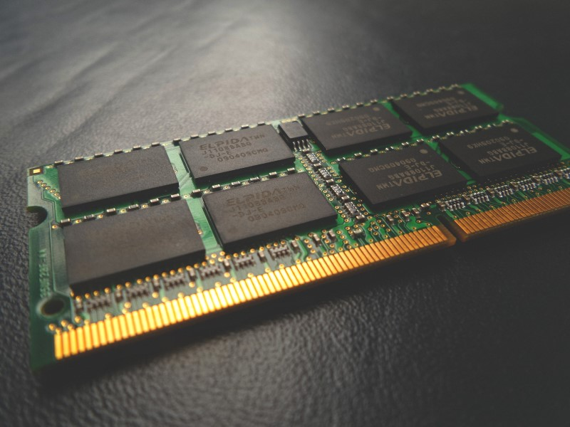 close up view of laptop RAM module