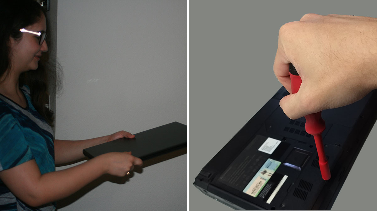 Two shots on the left and right, left showing a woman handing over a laptop to be worked on, right showing a hand holding a screwdriver and opening a compartment on the back