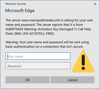 Fake microsoft pop-up window claiming that Windows activation is damaged