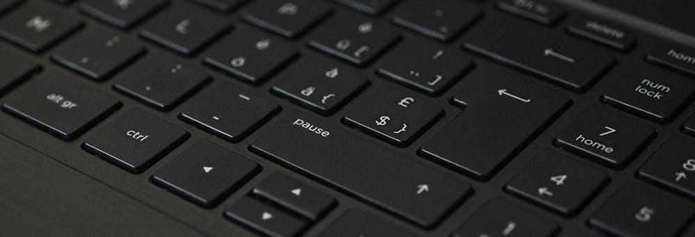 close up view of laptop keyboard